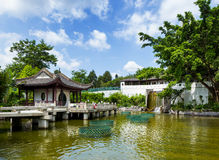 Traditional chinese pavilion with pond Stock Photo