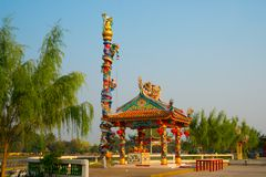 Traditional chinese pavilion with sunny day, Udon Thani, Thailand royalty free stock photo