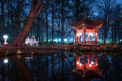 Traditional Chinese pavilions in Lazienki Park Stock Photos