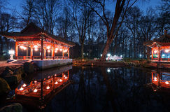 Traditional Chinese pavilions in Lazienki Park Royalty Free Stock Photo