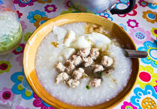 Traditional chinese porridge rice gruel in bowl Stock Photography