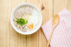 Traditional chinese porridge rice gruel in bowl, congee. Traditional chinese porridge rice gruel in bowl Royalty Free Stock Image
