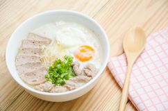 Traditional chinese porridge rice gruel in bowl, congee. Traditional chinese porridge rice gruel in bowl Stock Photos