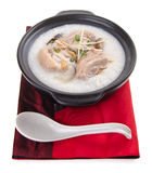 Traditional chinese porridge rice gruel served in claypot Royalty Free Stock Photography