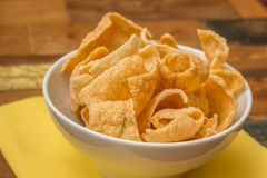 Traditional chinese prawn crackers in white bowl Royalty Free Stock Photo
