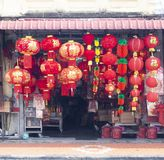 Traditional Chinese red lanterns for sale Royalty Free Stock Photos