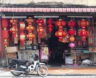 Traditional Chinese red lanterns for sale Royalty Free Stock Photography
