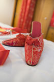 Traditional Chinese red shoes Stock Photo