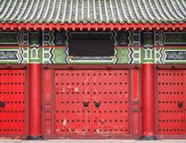 Traditional Chinese Red Temple Gate Stock Image