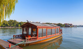 Traditional Chinese red wooden water taxi boat Royalty Free Stock Image