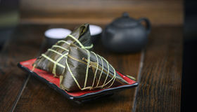 Traditional Chinese rice-pudding. Traditional cuisine from China.asian celebration chinese duanwu festive food glutinous meal rice zongzi Stock Image