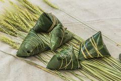 Traditional Chinese rice-pudding. Traditional cuisine from China.asian celebration chinese duanwu festive food glutinous meal rice zongzi Royalty Free Stock Image