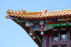 Traditional Chinese Roof Detail. This is a roof detail from a building close to the Imperial Palace of the Qing Dynasty in Shenyang Stock Photo