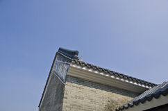 Traditional chinese roof in guangzhou. Traditional Chinese roof which is build with bricks and watts Stock Photo