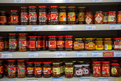 Traditional Chinese seasonings and sauces on the storage racks for sale Royalty Free Stock Images