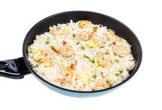 Traditional Chinese Shrimp Fried Rice in a Frying Pan #1 Stock Image