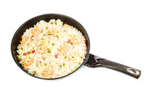Traditional Chinese Shrimp Fried Rice in a Frying Pan #2 Stock Photos