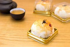 Traditional chinese snack of preserved egg cakes with tea Royalty Free Stock Photo