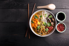 Traditional chinese soup. With noodles, mushrooms and vegetables Stock Image