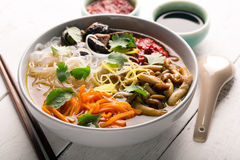 Traditional chinese soup. With noodles, mushrooms and vegetables Royalty Free Stock Photo