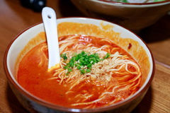 Traditional chinese soup with noodles. Soybean taste Royalty Free Stock Images