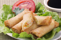 Traditional Chinese Spring Rolls with a dipping sause Stock Photos