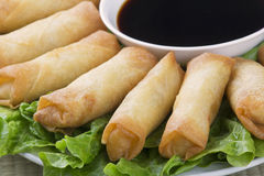 Traditional Chinese Spring Rolls with a dipping sause Stock Images