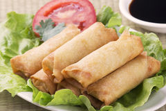 Traditional Chinese Spring Rolls with a dipping sause Royalty Free Stock Photography