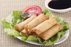 Traditional Chinese Spring Rolls with a dipping sause Royalty Free Stock Images