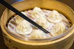 Chinese steamed dumplings in a steamer Stock Photo