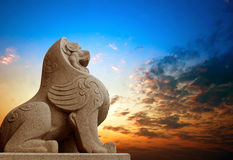 Traditional Chinese stone lion Stock Image
