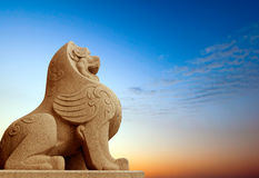 Traditional Chinese stone lion Royalty Free Stock Photo