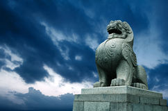 Traditional Chinese stone lion Stock Images