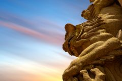 Traditional Chinese stone lion Stock Photo