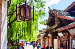 Traditional Chinese street lamp at the Old Town of Lijiang Stock Images