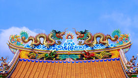 Traditional Chinese style style roof in temple, Thailand Stock Image
