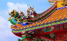 Traditional Chinese style style roof in temple, Thailand Royalty Free Stock Image