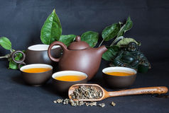 Traditional Chinese tea. Ceremony, still life on black background Royalty Free Stock Image