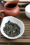 Traditional chinese tea ceremony accessories. (green tea Royalty Free Stock Photo
