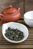 Traditional chinese tea ceremony accessories. (green tea Royalty Free Stock Image