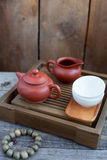 Traditional chinese tea ceremony accessories. On the tea table Stock Photos