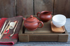 Traditional chinese tea ceremony accessories. On the tea table Royalty Free Stock Photos