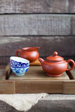 Traditional chinese tea ceremony accessories. On the tea table Royalty Free Stock Image