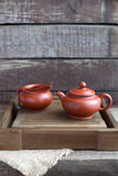 Traditional chinese tea ceremony accessories. (tea pot) on the tea table Royalty Free Stock Photography