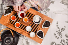 Traditional chinese tea ceremony accessories pair. Traditional chinese tea ceremony accessories tea pair shot closeup Stock Photography