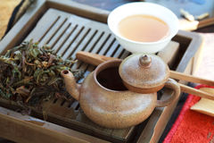 Traditional chinese tea ceremony accessories. (tea pot and broken tea Feng Huang Puer tea) on the tea table, selective focus Royalty Free Stock Images