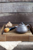 Traditional chinese tea ceremony accessories (tea pot). On the tea table Royalty Free Stock Photo