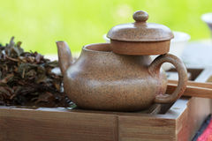 Traditional chinese tea ceremony accessories (tea pot) on the te Royalty Free Stock Photos