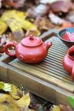 Traditional chinese tea ceremony accessories (tea pot and tea cu. P) on the tea table amongst autumn leaves, selective focus on the teapot Stock Photo