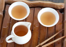 Traditional chinese tea ceremony accessories on the tea table, s Royalty Free Stock Photo